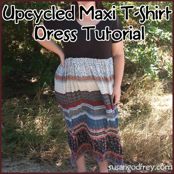 Tutorial up on my blog about how to turn an old, long skirt into a cute Maxi T-Shirt Dress. http://susangodfrey.com/upcycled-maxi-t-shirt-dress-tutorial-creative-home-link-up-party/