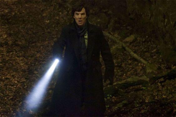 "Benedict Cumberbatch as Sherlock in ""Hounds of Baskerville"""