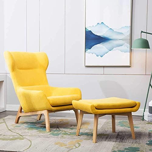 Buy Irene House Contemporary Velvet Fabric Height Back Accent Chair Living Room Bedroom Arm Chair Bright Yellow Ottoman Online Wouldtopshopping In 2020 Accent Chairs For Living Room Accent Chairs Relaxing Chair