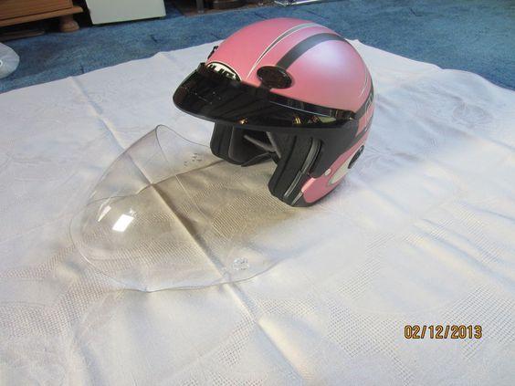 Jet Helm / Biker Helm / Chopper Helm  rosa/schwarz Visier + Schirmchen