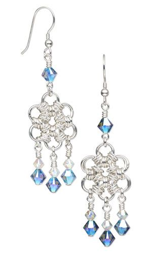 Earrings with Chain Mail and SWAROVSKI ELEMENETS