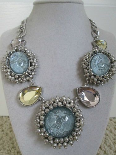 NWT-Auth-Betsey-Johnson-Stargazer-Cloud-Large-Blue-Medallion-Statement-Necklace