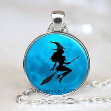 Unique Jewelry - Vintage Little Witch Cabochon Silver plated Glass Chain Pendant Necklace.p23