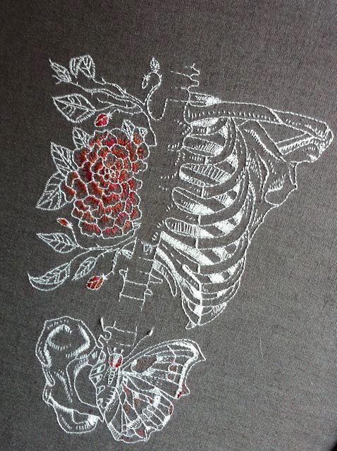 La combinaison de la broderie avec un motif de squelette est fascinante. From => alapoursuiteduvent  ;)