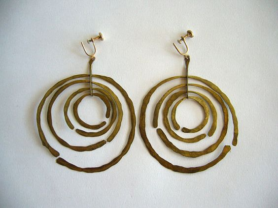 Harry Bertoia Brass Mobile Earrings: