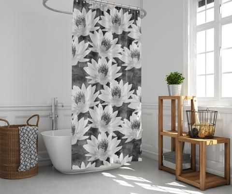 Lotus Flower Black And White Spa Design Shower Curtain Curtains
