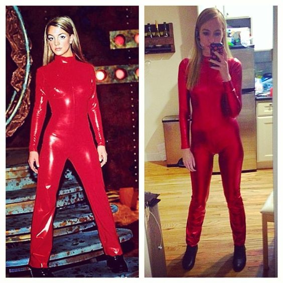 Britney Spears Oops I Did It Again costume. Red catsuit made by Cathy of Prima Fashions: https://www.etsy.com/shop/primafashions