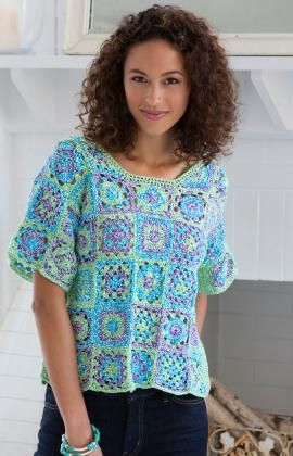 Crafty Crochet Top - Free Red Heart pattern! Love the granny squares!  :)