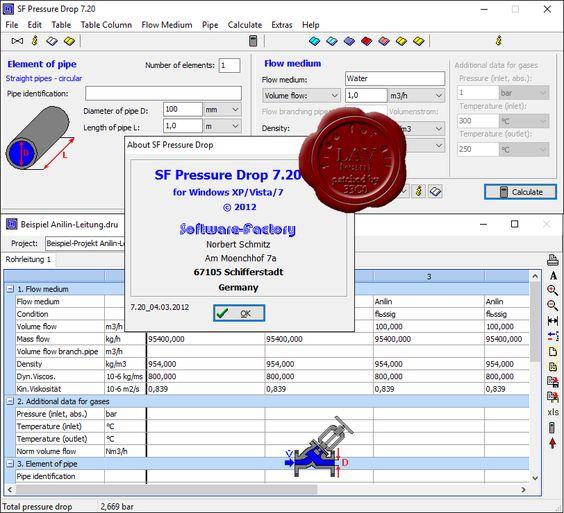 برنامج حساب ضغط تدفق السوائل والغازات في الأنابيب Software-Factory Pressure Drop v7.5 - التطبيقات الهندسية