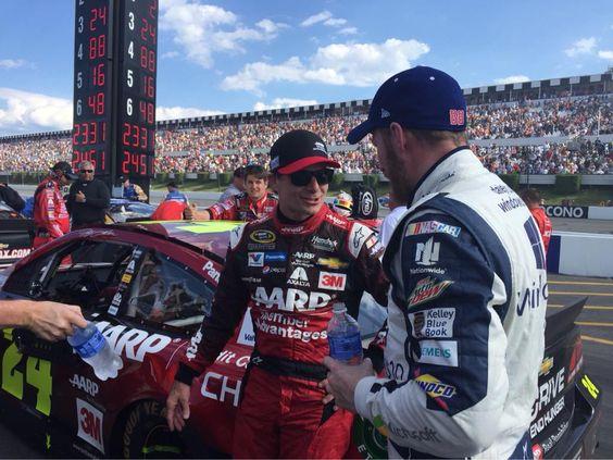 Dale Jr. and Jeff talk after Pocono