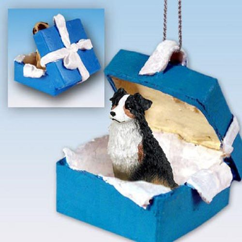 Australian Shepherd Tricolor Dog Blue Gift Box Ornament