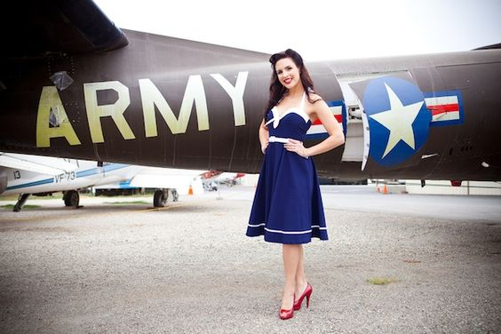 How cute!  Vintage Pin Up Aviator Engagement Shoot | Bridal Musings | A Chic and Unique Wedding Blog