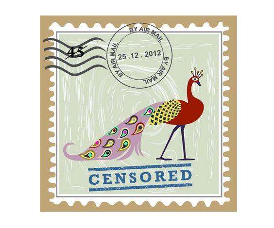 Peacock Art Postage Stamp Art Decor