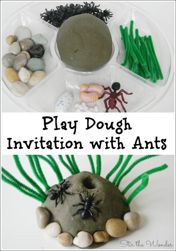 Play Dough Invitation with Ants. Kids will love playing with this play dough set up all the while working on fine motor skills, crucial for learning to write!: