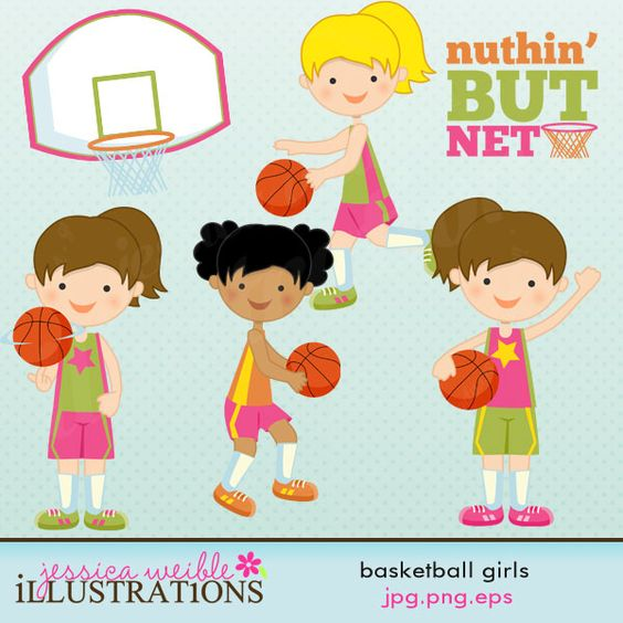 """Basketball Girls clipart set comes with 7 graphics including: four basketball girls, a basketball goal, a basketball and word art - """"Nuthin' But Net"""" ."""