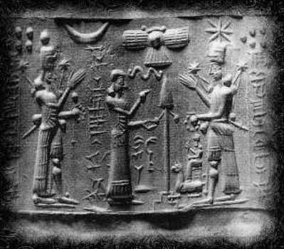 Anunnaki - extraterrestrials. That is a space ship that appears above their heads. Note this stone tablet was carved at least 5000 years BCE.
