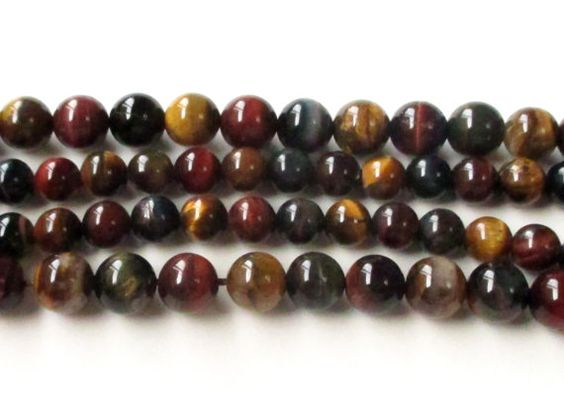 Tiger Eye Round Beads Mix Color Smooth TigerEye by BijiBijoux