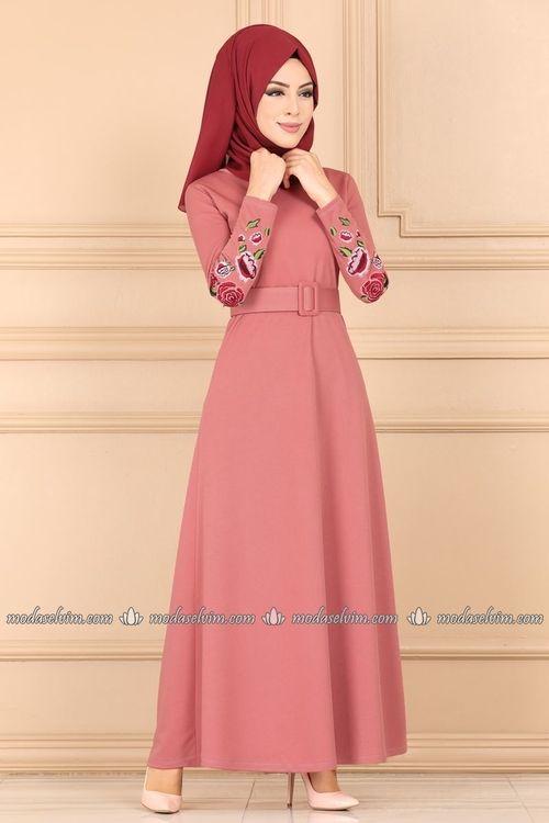 Modaselvim Elbise Cicek Nakisli Tesettur Elbise Ukb5037 Gul Kurusu Dresses Fashion Blouse Designs