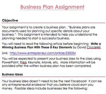 Business plan ideas for class