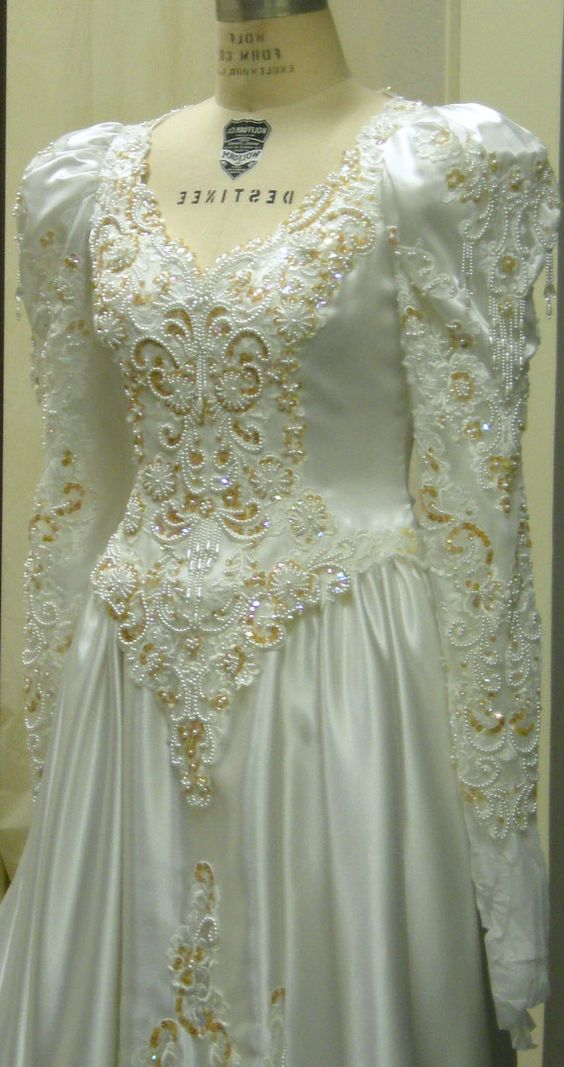1980's Long sleeved Off white wedding gown by ErmaAndAgnes on Etsy, $125.00