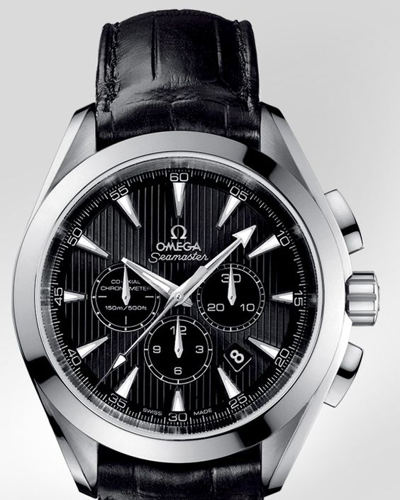 OMEGA Watches: Seamaster Aqua Terra Chronograph - Steel on leather strap - 231.13.44.50.01.001