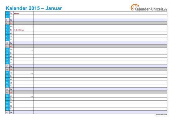 Kalender 2015 in BLAU - A4, Querformat, 12seitiger Monatskalender #KalUhr