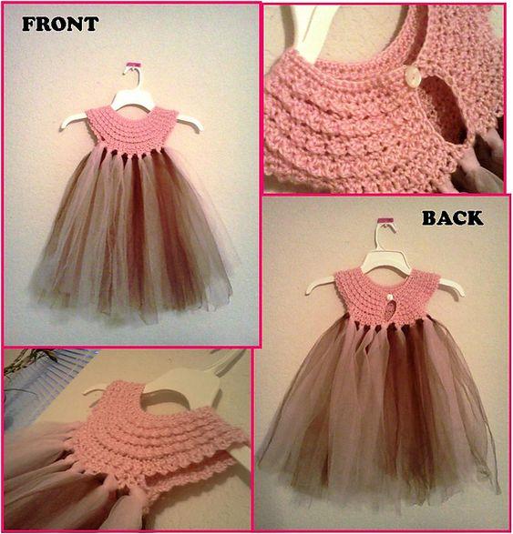 Hermoso vestido con crochet y mucho tul!!!!!!