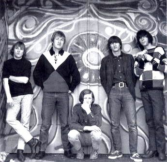 Buffalo Springfield, left to right: Stephen Stills, Dewey Martin, Bruce Palmer, Richie Furay, Neil Young