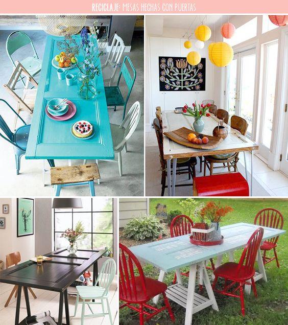 Mesas ideas para and puertas on pinterest for Decoracion de mesas de comedor