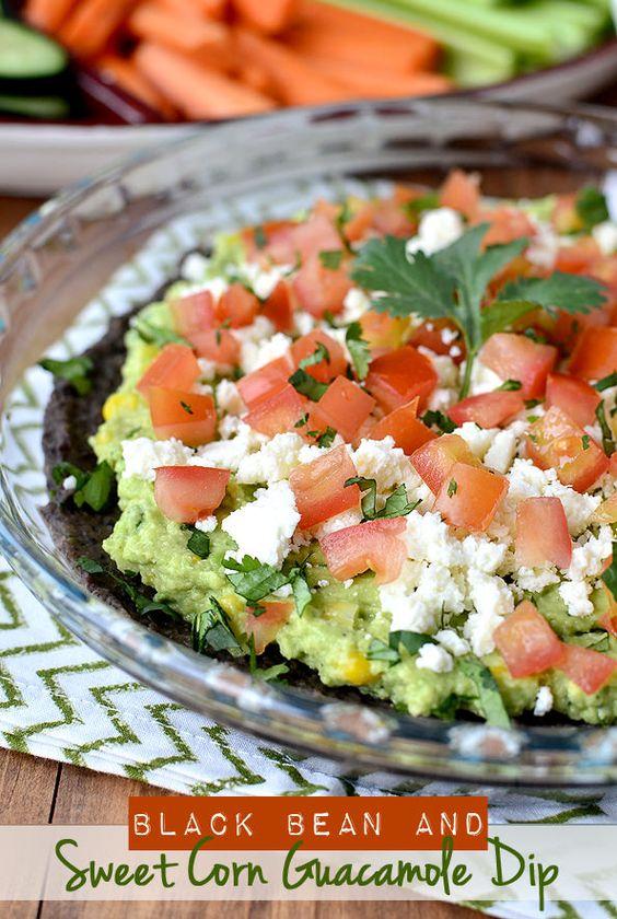 Black Bean and Sweet Corn Guacamole Dip #appetizer #dip #football:
