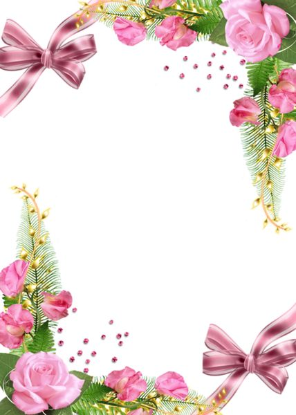 Cute PNG Photo Frame with Pink Roses | ÇERÇEVE BASKILAR ...