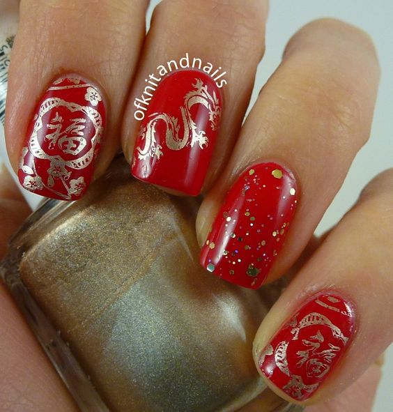 Red & Gold Chinese Mani: