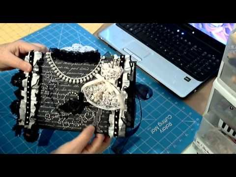 Scrapbookgiggles Black and White Tasseled Scrapbook mini album using my bulky bliss method.