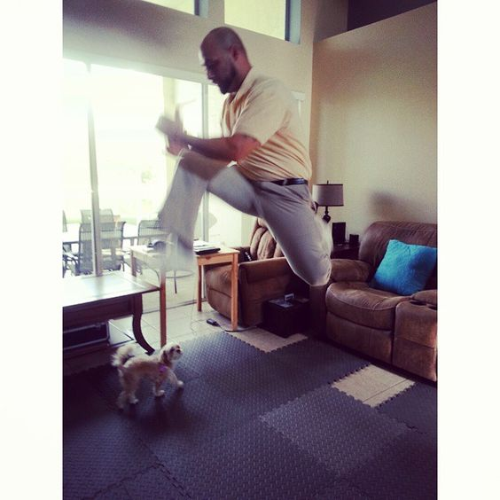 "So I ask my 35 year old son David, ""hey can you jump like this?"" and Bella thinks it's WOW #justjumpnotimetochange #bellacrazychic"