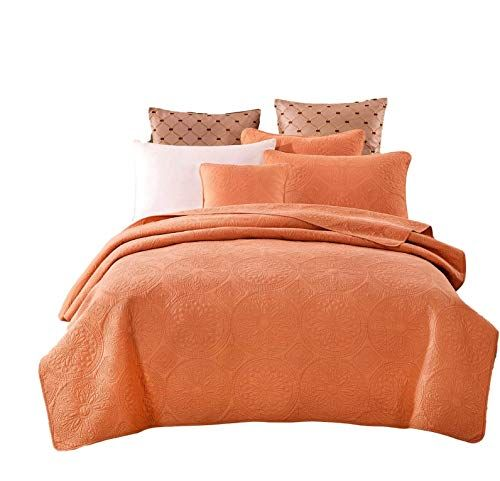 Tache Cotton Matelasse Orange Bedspread Fall Harvest Solid Quilt Cov Bed Spreads Bedspread Set Bedding Sets