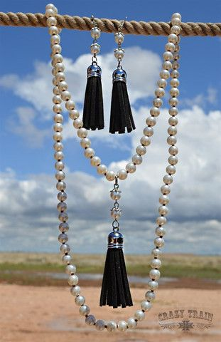 $20  free shipping!  Suede tassel pearl long necklace- Black – Girleigh Boutique