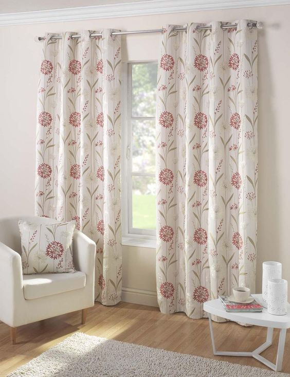Santorini Ready Made Eyelet Curtains in Coral - Terrys Fabrics UK ...