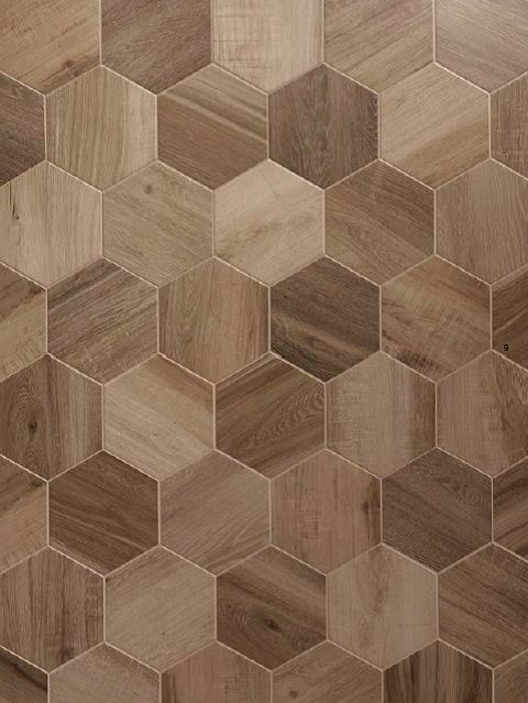 Rubiera urban wood nut 10x11 hexagon also available in 6x36 and 3x14 planks wood patterns Wood pattern tile