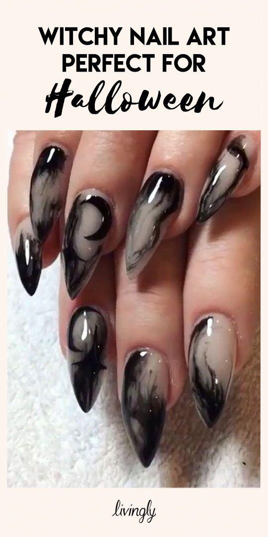 Witchy Nail Art Goth Nails Witchy Nails Halloween Nail Designs
