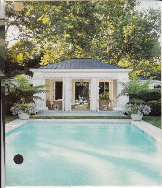 Erin lauder 39 s greek revival poolhouse outside for Pool house garage