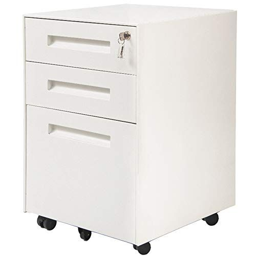 3 Drawer File Cabinet With Lock Metal Mobile File Cabinet Fully Assembled Except Casters Lemanda File Filing Cabinet Filing Cabinet Storage Mobile File Cabinet