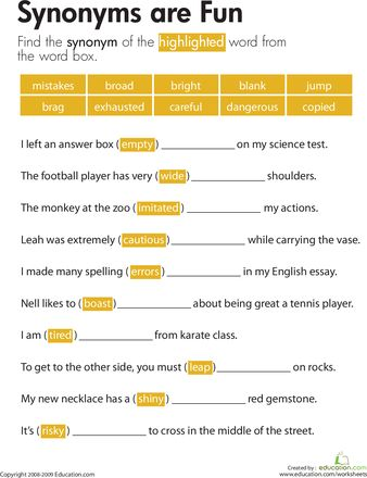 Printables Synonyms List For Grade 5 synonyms are fun plays 5th grade worksheets and grades