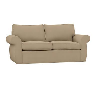 Pearce Slipcovered Deluxe Sleeper Sofa, Polyester Wrapped Cushions, Twill Walnut