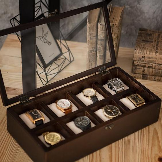 Man's Wooden watch Box Hetch DS4 - Wenge in 8 compartments, Wooden watch organaizer, Jewelry box, Je