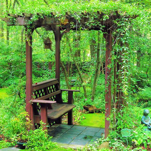 How to Build a Shady Arbor Bench by sunset.com: Love this secret hide away! Building a bench and arbor combo is in some ways less complicated than building a standalone bench. The arbor provides the structure, and the bench comes along for the ride with no complex angles or fancy joinery. Free step by step instructions. #DIY #Backyard_Projects #Arbor_Bench #sunset_com