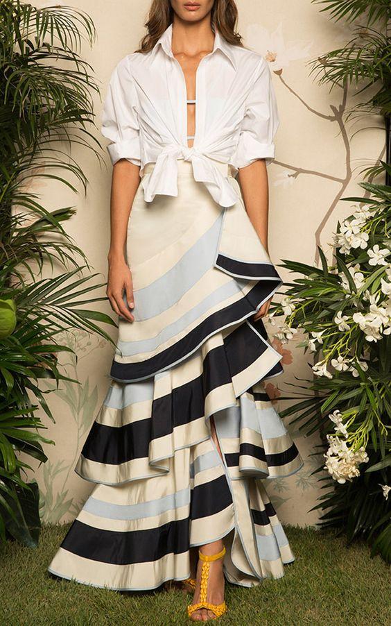 Lombard Street Tiered Ruffle Skirt by JOHANNA ORTIZ Now Available on Moda Operandi