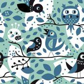 birds in blue from spoonflower