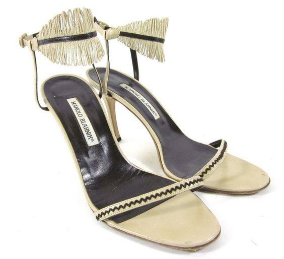 MANOLO BLAHNIK Beige Leather Brown Trim Fringe Ankle Strap Sandals Shoes Sz 39 9 at www.ShopLindasStuff.com