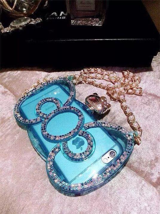 Hello Kitty Handyhülle mit Kristall verzierter Schleife und Perlenkette für iPhone 6/6 Plus - spitzekarte.com