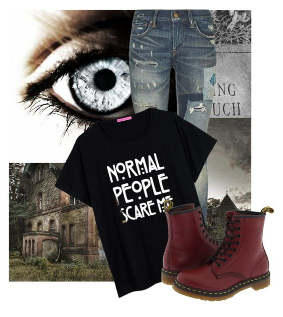 """AHS junkie"" by hannahtheawesomelyepic ❤ liked on Polyvore featuring Polo Ralph Lauren, Dr. Martens, women's clothing, women, female, woman, misses and juniors"